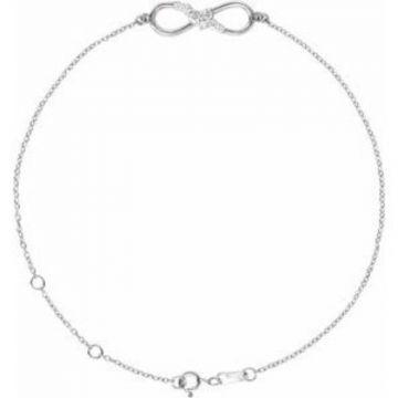 "Sterling Silver 1/8 CTW Diamond Infinity 6 1/2-7 1/2"" Bracelet"
