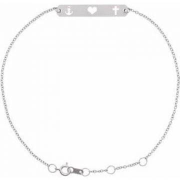 """Sterling Silver Faith, Love, Hope Bar 6 1/2-7 1/2"""" Bracelet"""