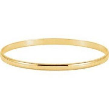 14K Yellow 4 mm Milgrain Edge Bangle Bracelet