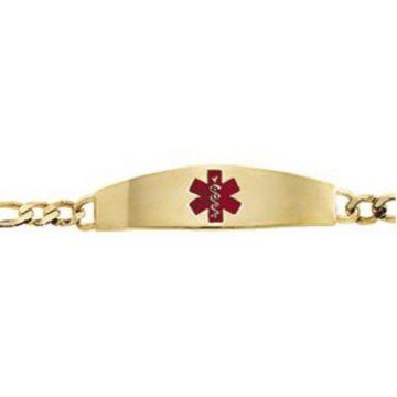 "14K Yellow & Red Enamel Medical Identification 8"" Bracelet"