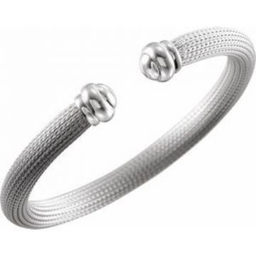 "Sterling Silver Mesh Cuff 7.5"" Bracelet"