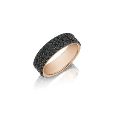 Henri Daussi 18k Rose Gold Diamond Men's Wedding Bands