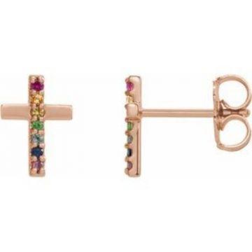 14K Rose Multi-Gemstone Cross Earrings