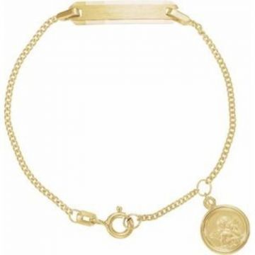 """14K Yellow Youth Identification 4.5"""" Bracelet with Angel Charm"""