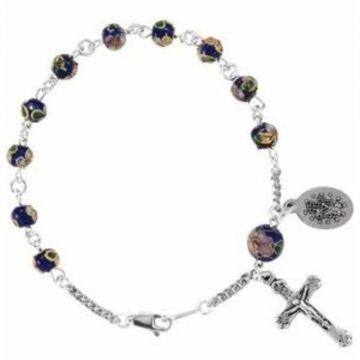 "Sterling Silver Cobalt Cloisonn?? Rosary 7 1/2"" Bracelet"