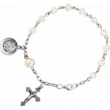 "Sterling Silver Freshwater Cultured Pearl First Holy Communion Rosary 6 1/2"" Bracelet"