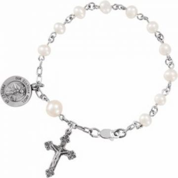 "Sterling Silver Freshwater Cultured Pearl Our Guardian Angel Rosary 6"" Bracelet"