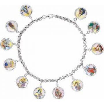 """Sterling Silver Enameled Saints Medal 7.5"""" Bracelet"""