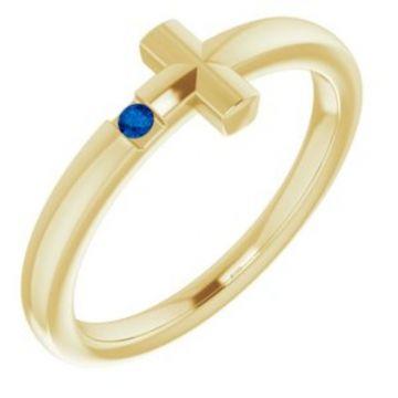 14K Yellow 1.5 mm Round Genuine Blue Sapphire Youth Cross Ring