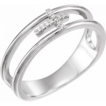 Sterling Silver .03 CTW Diamond Negative Space Cross Ring