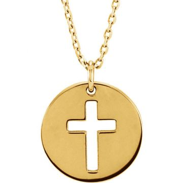 14k Yellow Gold Pierced Cross Disc Necklace