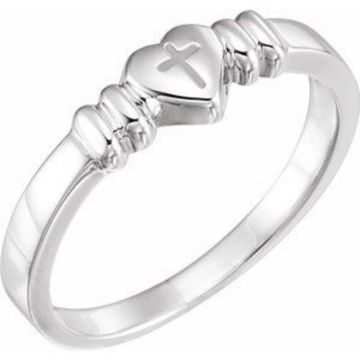 14K White Heart & Cross Chastity Ring Size 7