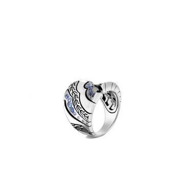 John Hardy Silver Lahar Women's Gemstone Saddle Ring
