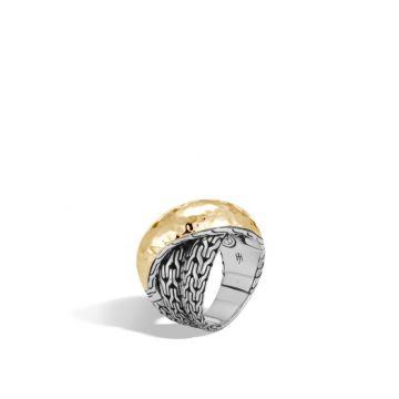 John Hardy Silver & Gold Classic Chain Women's Overlap Ring