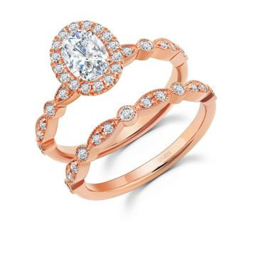 Uneek 14k Rose Gold Oval Diamond Halo Bridal Set