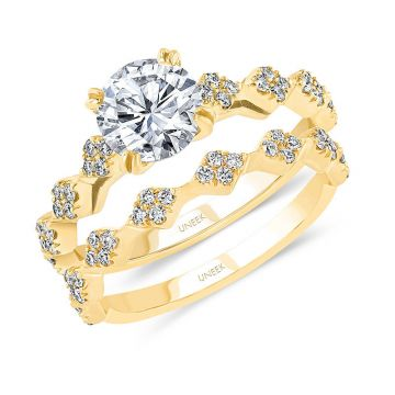 Uneek 14k Yellow Gold Diamond  Engagement Ring and Matching Wedding Band