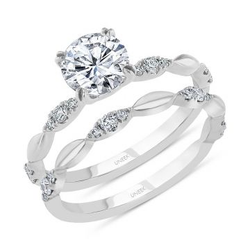 Uneek 14k White Gold Round Diamond Bridal Set