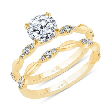 Uneek 14k Yellow Gold Round Diamond Bridal Set