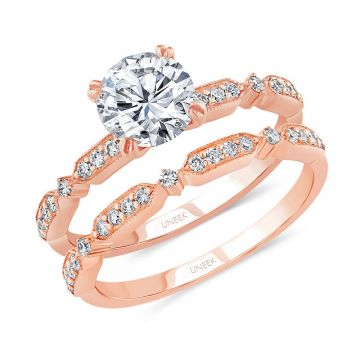Uneek 14k Rose Gold Round Diamond Bridal Set