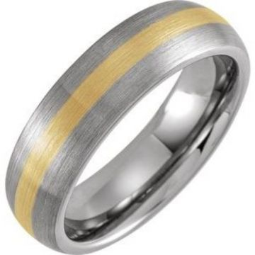 Tungsten & 18K Yellow Gold PVD 6 mm Domed Band Size 7