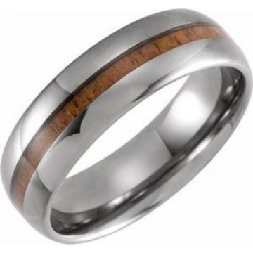 Tungsten 8 mm Domed Band with Acacia Wood Inlay Size 7