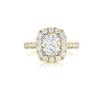 Henri Daussi 18K Yellow Gold 1.39ctw Diamond Halo Engagement Ring