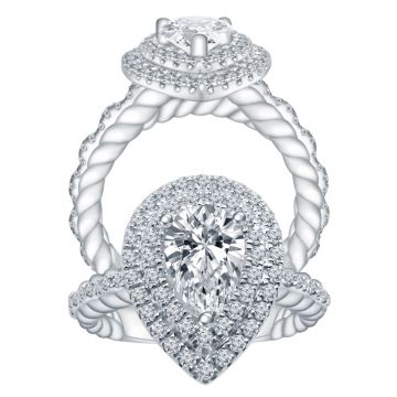 ALTR 14k White Gold Double Halo Diamond Engagement Ring