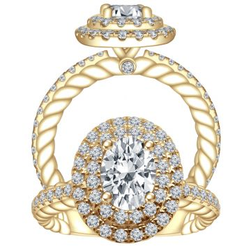 ALTR 14k Yellow Gold Double Halo Diamond Engagement Ring