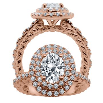 ALTR 14k Rose Gold Double Halo Diamond Engagement Ring
