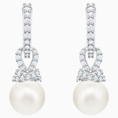 Swarovski Silver Tone Crystal Pearl Drop Earrings