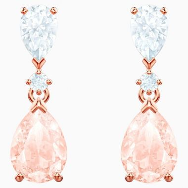 Swarovski Rose Tone Crystal Drop Earrings