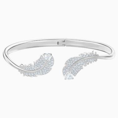 Swarovski Silver Tone Crystal Cuff Bracelet