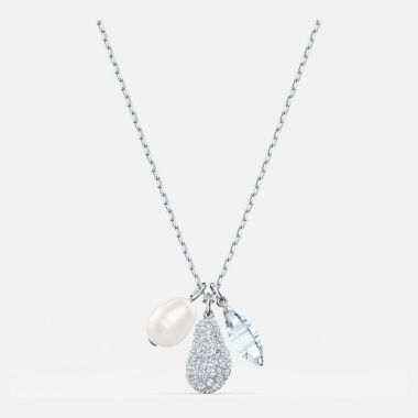 Swarovski Silver Tone Crystal Pear Necklace