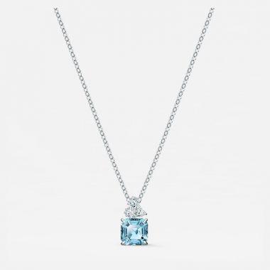 Swarovski Silver Tone Aquamarine Necklace