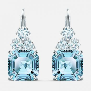 Swarovski Silver Tone Aquamarine Earrings