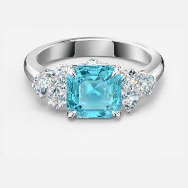 Swarovski Silver Tone Aquamarine Ring