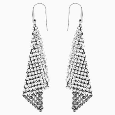 Swarovski Silver Tone Crystal Drop Earrings