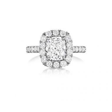 Henri Daussi 18K White Gold 1.31ctw Diamond Halo Engagement Ring