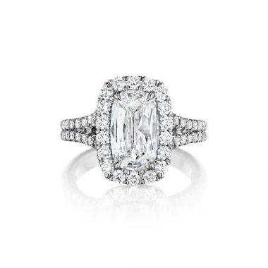 Henri Daussi 18K White Gold 1.26ctw Diamond Halo Engagement Ring