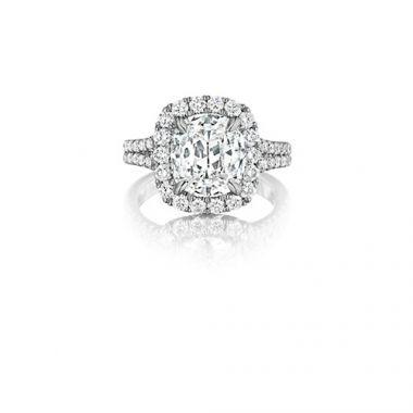 Henri Daussi 18K Yellow Gold 1.88ctw Diamond Halo Engagement Ring