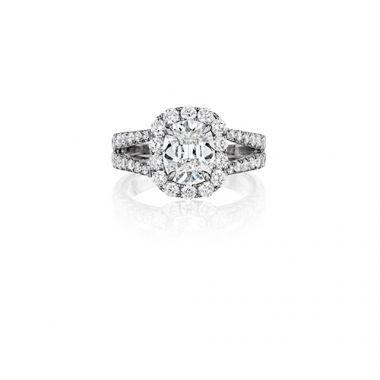 Henri Daussi 18K White Gold 1.98ctw Diamond Halo Engagement Ring