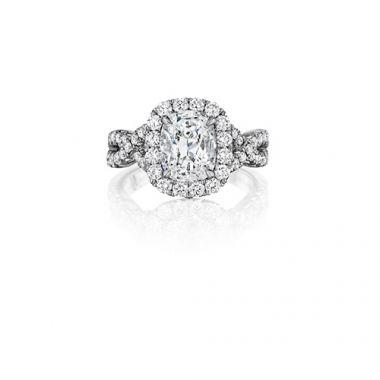 Henri Daussi 18K White Gold 1.60ctw Diamond Halo Engagement Ring