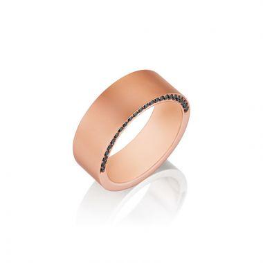 Henri Daussi 14k Rose Gold Diamond Men's Wedding Bands