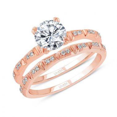 Uneek 14k Rose Gold Round Diamond Bridal Set