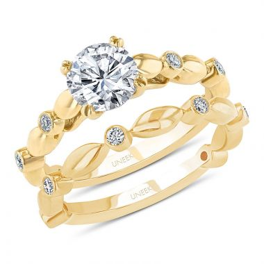 Uneek 14k Yellow Gold Round Diamond Cathedral Setting Engagement Ring and Matching Wedding Band